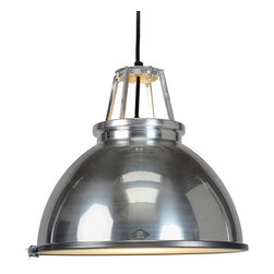 Original BTC - Titan 3 Pendant & Diffuser - Aluminum - Original BTC - We love the classic industrial look of the Titan Pendant. Designer Peter Bowles used an actual mold from the 1940's that produced these lamps for offices and factories at the time, but then he updated it for a more modern setting. We think it's an ideal choice for a kitchen, dining room, or workspace, since it is mostly downward lighting. But, if brightness isn't your thing, it comes with a frosted glass diffuser to give a softened, glowing light. The lamp is UL listed and suitable for commercial spaces. This lamp is the larger version of the Titan 1. Manufactured in a factory in the UK dedicated to green manufacturing practices.