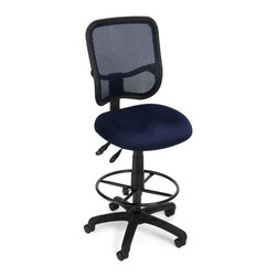 OFM - OFM Mesh Comfort Series Ergonomic Task Chair with Drafting Kit in Navy - OFM - Drafting Chairs - 130DKA04 - Get contemporary style and all-day comfort with OFM's Modern Mesh Ergonomic Task Stool 130-DK. The back features built-in lumbar support and breathable mesh gives long-term comfort. Plus the mesh and seat fabric are it stain resistant so the chair keeps