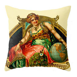 "Pictorial History Decor - Gypsy Inspired Eclectic 18"" x 18"" Throw Pillow, Includes Faux Down Insert - This beautiful Queen of the Gypsies is just the pop of color and spice you need to dress up your bedroom or living room."