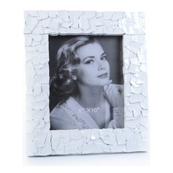 "Concepts Life - Concepts Life Photo Frame  Sacred Mantle  White  8x10"" - Add luxurious shimmer and texture to your most beloved photographs with these Sacred Mantle Photo Frames. These dazzling white frames feature a shell like finish and look stunning when they catch a ray of light.  Modern home accent Contemporary white picture frame Beautiful and elegant home accent Rectangular photo frame Made of polyresin Textured glossy finish Easel back for horizontal or vertical display Various sizes available Holds 8 x 10 in. size photo Dimensions: 12""w x 14""h x 1.5""d Weight: 3.5 lbs"