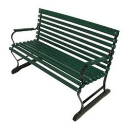 Algoma Net Company, Div. Of Gleason Co - Terrace Style Bench - Give your garden or yard extra seating with a traditional wood bench. Made of green wooden slats that are finished in weather-resistant enamel, the 4' Terrace Bench is accented by a black powder coated steel frame. Air space between the slats allows water to drain off.
