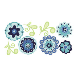"""WallPops - Morning Glory Wall Decal - Fresh Morning Glory blossoms unravel on your wall all day long with this Aegean blue collection of flowers and vines. Flowers are beautifully rendered in a kaleidoscope of blue hues, with a style similar to Murano glass beads. These floral wall decals come in a kit so you can arrange them however you like. Decorate your walls with this pack that contains four 13"""" by 13"""" sheets totaling 16 pieces."""