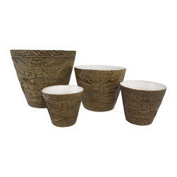 Zeckos - Set of 4 Friki Tiki Natural Nesting Planters Makaha Style - This set of planters is a great way to dress up your tropical plants, indoors and out The largest pot is 8 inches in diameter, 7 3/4 inches tall, 1/2 inch thick, the 6 inch pot is 5 3/4 inches tall, 1/4 inch thick, the 4 inch pot is 4 1/4 inches tall, 1/8 inch thick, and the smallest pot is 3 1/2 inches in diameter, 3 3/4 inches tall, and 1/8 of an inch thick. Each one is made of cold cast resin, and textured to look as though they are carved from bamboo and feature Makaha style tiki faces. They are a cool accent to porches and patios, and are a must-have for tiki bars