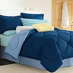 """Lantrix Inc. - 10-Piece Twin XL-Size Dorm Room in a Box in Navy / Light Blue - Send them off with confidence with this Dorm Room in a Box. This bedding set includes reversible comforter, sheet set, towel set, mattress pad, Laundry Sac and matching pillow sham. Features: -Set includes comforter, flat sheet, fitted sheet, pillowcase, bath towel, hand towel, wash cloth, mattress pad, laundry sac, and reversible pillow sham. -Color: Navy/Light Blue. -Style: Solid. -Comforter pattern: Solid Navy. -Comforter reverse: Solid Light Blue. -Comforter detail: Woven fabric. -Sheet weave: Plain. -Sheet pattern: shipped at random. -Fitted sheet pocket depth: 12"""". -Fully elasticized fitted sheet. -200 Thread count sheet. -Materials: 55% cotton and 45% polyester. -Machine washable. -Dimensions: 20"""" Height x 16"""" Width x 16"""" Depth."""