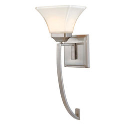 Minka-Lavery - Agilis One-Light Wall Sconce - - Lamina Blanca glass  - Brushed nickel finish  Minka-Lavery - 6810-84