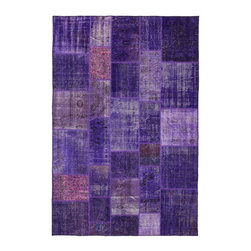 """Pre-owned Purple & Pink Overdyed Turkish Patchwork Carpet - Traditional Turkish patterns from an assortment of vintage pieces mix to make this hand made, naturally distressed vintage rug. Full cotton backing and decorative blanket stitch edging.    Remnants of vintage wool on a cotton warp, made entirely by hand in the '60's through '80's when Turkish women still included weaving in their daily homemaking chores. Employing the sturdy double knot technique unique to Turkish rugs, multicolor floral and medallion motifs were created a row at a time using bright hand dyed wools. Considered too old fashioned for modern Turkish homes in their traditional incarnations, these rugs have languished in back rooms of the bazaars‰Ű_until now, as these fragments in excellent condition are overdyed and combined to create modern patchwork statements for the floor.    Note from the seller: """"Our revitalization process keeps rugs that may otherwise get tossed out of landfill. Repurposed discards are helping artisans connect and create, supporting the community we're building here in Istanbul to revive vanishing traditional fiber crafts.‰Űť    Please note that all sales are final - These amazing rugs are coming direct from Istanbul, Turkey and returns will not be allowed."""