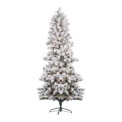 """Vickerman J126391 Flocked White Pine Trees Christmas Tree (with lights) - Get 10% discount on your first order. Coupon code: """"houzz"""". Order today."""