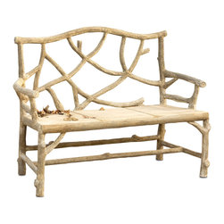 Currey & Co - Currey & Co 2705 Woodland Faux Bois Bench - The lodge look comes to life in your home with the addition of this Currey & Co 2705 Woodland Faux Bois bench. This rustic-looking bench appears to be made from wood, right down to the gnarled appearance of its back and legs, but is actually constructed from concrete and steel for long-lived durability. Add it to a foyer or entryway to create a great place for putting on shoes, or bring it onto the patio or deck for a refreshing outdoor seating option.