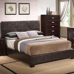 "Wildon Home � - Norfolk Platform Bed - The unique styling of the Norfolk bedroom collection offers a casual contemporary look that is sure to make a bold statement in your master bedroom. This sleek bed Features an upholstered high straight headboard in dark brown faux leather and low profile footboard style frame for an exceptional look that you will love. Pair with the matching cappuccino night stand, dresser, mirror and chest for the complete look. Features: -Upholstery: Vinyl.-Box spring or foundation not required.-Casual style.-Color: Brown.-Norfolk collection.-Distressed: No.-Collection: Norfolk.Dimensions: -Queen Dimensions: 48.25"" H x 78.75"" W x 68"" D.-King Dimensions: 48.25"" H x 87.75"" W x 83.75"" D.-Overall Product Weight: 74.66 lbs."