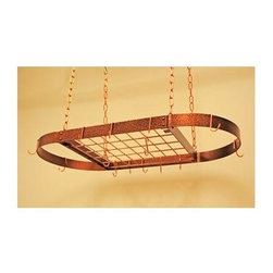Rogar - Oval Grid Pot Rack in Hammered Copper - Mediu - Great for the average kitchen. Includes 10 Regular and 4 Grid Hooks. Hammered Copper w Copper accessories. 37.5 in. L x 18 in. W x 2 in. H (15 lbs.)