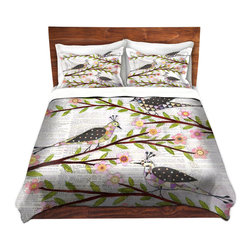 DiaNoche Designs - Duvet Cover Microfiber - Whimsical Birds - Super lightweight and extremely soft Premium Microfiber Duvet Cover in sizes Twin, Queen, King.  This duvet is designed to wash upon arrival for maximum softness.   Each duvet starts by looming the fabric and cutting to the size ordered.  The Image is printed and your Duvet Cover is meticulously sewn together with ties in each corner and a hidden zip closure.  All in the USA!!  Poly top with a Cotton Poly underside.  Dye Sublimation printing permanently adheres the ink to the material for long life and durability. Printed top, cream colored bottom, Machine Washable, Product may vary slightly from image.