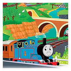 York Wallcoverings - Thomas Train Tank Engine Self-Stick Wall Accent Mural Set - FEATURES: