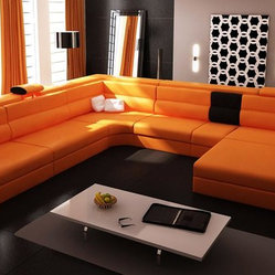 Polaris 5022 Orange Top Grain Italian Leather Sectional Sofa