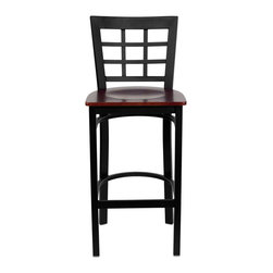 """Flash Furniture - HERCULES Series Black Window Back Metal Restaurant Bar Stool - Mahogany Wood Sea - This heavy duty commercial metal bar stool is ideal for Restaurants, Hotels, Bars, Pool Halls, Lounges, and in the Home. The lightweight design of the stool makes it easy to move around. The tubular foot rest not only supports your feet, but acts as an additional reinforcement that helps secure the legs. You will not regret the purchase of this bar stool that is sure to complement any environment to fill the void in your decor.; Heavy Duty Restaurant Bar Stool; Window Style Back; Mahogany Finished Wood Seat; .75"""" Thick Plywood Seat; 18 Gauge Steel Frame; Welded Joint Assembly; Two Curved Support Bars; Foot Rest Rung; Black Powder Coated Frame Finish; Plastic Floor Glides; Designed for Commercial Use; Suitable for Home Use; Assembly Required: Yes; Country of Origin: China; Warranty: 2 Years; Weight: 30 lbs.; Dimensions: 41.75""""H x 16""""W x 19""""D"""