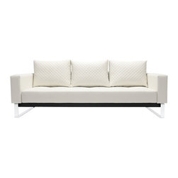 """Innovation USA - """"Innovation USA"""" Cassius Q Deluxe White Leather Textile Sofa Bed - With no superfluous details in design, the """"Innovation USA"""" Cassius Q Deluxe Sofa Bed is sure to make almost any decor more comfortable, stylish and versatile. Just pull the the seat forward and fold down the backrest and you will get a comfy full size sleeping surface. Also, its back cushions are reversible. The steel legs in chrome finish support ideally the seating with the comfortable and soft mattress and a luxurious leather textile upholstery.    Features:"""