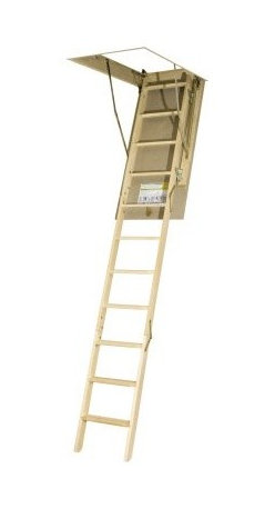 "Fakro 10.1 ft. Wooden Attic Ladder - 12-step attic ladder with patented door hinge corners Crafted from sturdy pinewood Adjusts from 7' 11"""" inches to 10' 1"""" inch in height Smooth paintable outside door surface Easy-to-grasp small side rails and non-slip treading ANSI certified Available in 4 unique sizes to choose from About Fakro A privately owned company established in Poland in 1991 FAKRO has grown into one of the most dynamic and fastest growing companies in the world with over a 15% share of the global market and 3 300 employees. Their extensive research and development center produces a wide variety of roof windows with unique design and functionality accessories and the very latest in solar collectors. Their emphasis on health safety security and environmental impact is unmatched. For an expansive range of top-of-the-line products for all imaginable applications look to FAKRO."