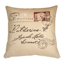 Pillow Decor - Pillow Decor - 1907 Airmail 24 x 24 Throw Pillow - Push the envelope in your decor. This plump pillow in a clean-feeling cotton-linen blend adds a nostalgic touch to your favorite setting.