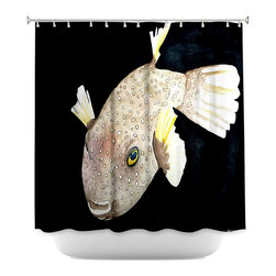 DiaNoche Designs - Shower Curtain Artistic - Deep Sea Life- Puffer Fish - DiaNoche Designs works with artists from around the world to bring unique, artistic products to decorate all aspects of your home.  Our designer Shower Curtains will be the talk of every guest to visit your bathroom!  Our Shower Curtains have Sewn reinforced holes for curtain rings, Shower Curtain Rings Not Included.  Dye Sublimation printing adheres the ink to the material for long life and durability. Machine Wash upon arrival for maximum softness on cold and dry low.  Printed in USA.