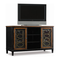 "Hooker Furniture Co - Entertainment Console/TV Stand - This entertainment console from Hooker Furniture features stunning beveled glass with serpentine metal work.  Six adjustable shelves provide ample space for a variety of electronic components.  This TV stand is designed to accommodate up to a 60"" plasma, DLP, or LCD television.  The console is fully ventilated with three electrical outlets. Composed of walnut veneers over hardwood solids, two tone black and wood finishes, and antique finished knobs."