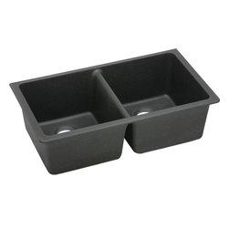 Elkay - Elkay Gourmet E-Granite Undermount Double Bowl Sink, Black (ELGU3322BK0) - Elkay ELGU3322BK0 Gourmet E-Granite Undermount Double Bowl Sink, Black