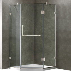 Vigo - 40 x 40 Frameless Neo-Angle 3/8in.  Clear/Chrome Shower Enclosure with Low-Profi - Both dramatic and space-saving, the VIGO frameless neo-angle shower enclosure with Low-Profile Base creates a beautiful focal point for your bathroom.