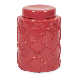 Imax - Modern Style Red Essentials Melon Sorbet Small Canister Home Decor - With it's bright color and embossed quatrefoil pattern, this small lidded Ceramic canister is both a fun and functional part of the Melon Sorbet collection from Essentials by Connie Post. Color is Red. Material is 94% terracotta, 6% paint.