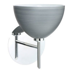 Besa Lighting - Brella Chrome One-Light Halogen Wall Sconce with Titan Glass - - Titan is a soft off-white cased glass that is handcrafted with spiraling strokes of silver, emphasizing the subtle brush pattern. The silvery rippled design is subdued and harmonious. Unlit, it appears as simply a textured surface like spun silk, but when lit the texture comes alive. The smooth satin finish on the clear outer layer is a result of an extensive etching process, with the texture of the subtle brushing. This blown glass is handcrafted by a skilled artisan, utilizing century-old techniques passed down from generation to generation.  - Bulbs Included  - Shade Ht (In): 4  - Shade Wd/Dia (In): 6  - Canopy/Fitter Ht (In): 5  - Canopy/Fitter Dia/Wd (In): 5  - Title XXIV compliant  - Primary Metal Composition: Steel  - Shade Material: Glass  - NOTICE: Due to the artistic nature of art glass, each piece is uniquely beautiful and may all differ slightly if ordering in multiples. Some glass decors may have a different appearance when illuminated. Many of our glasses are handmade and will have variances in their decors. Color, patterning, air bubbles and vibrancy of the d�cor may also appear differently when the fixture is lit and unlit. Besa Lighting - 1SW-4679TN-CR