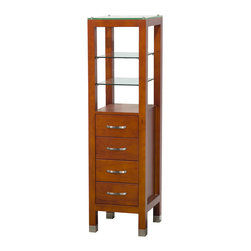 Wyndham - Tavello Linen Tower/Cherry - Afford your bathroom some much needed storage space with this modern 4-drawer Linen Tower, solidly constructed in eco-friendly wood.