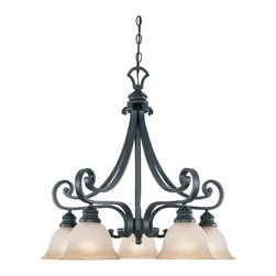 Designers Fountain - Designers Fountain 96185-NI 5-Light Down Chandelier - Natural Iron Finish, Ochere Finished Glass/Shade Hand-forged and softly scrolled ironwork captures the essence of the Old World charm.