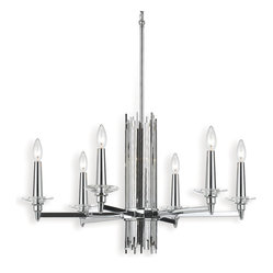 Trevor Modern Art Deco Silver 6-Light Chandelier