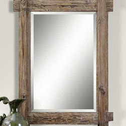 """Claudio Mirror - Light walnut stained wood gives a sweet, rustic appeal to the ever versatile Claudio Mirror. Whether hung horizontally or vertically, this homey but elegantly finished mirror makes any space appear lighter and bigger. Burnished detailing give a hand worked feel and looks great in any living area or guest bedroom hung above a simple desk or vanity. A large 1.25"""" bezel completes the mirrors polished but well loved look of the Claudio Mirror."""