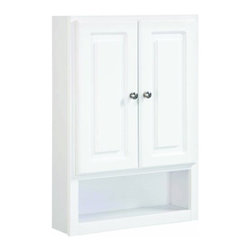 DHI-Corp - Concord White Gloss Wall Bathroom Cabinet with 2-Doors and 1-Shelf - The Design House 531319 Concord White Gloss Wall Bathroom Cabinet features a durable white gloss finish and satin nickel hardware. Perfect for a relaxed country style home, this cabinet has clean lines and concealed hinges. The 2-door, 1-shelf construction gives you plenty of storage to keep your bathroom neat and tidy. The panel doors open with a fluid motion, do not whine or creak and can endure moderate stress. Measuring 21-inches by 7-inches by 30-inches, this cabinet fits in larger bathrooms or laundry rooms and provides ample storage. Modern construction meshes with subtle vintage details for an elegant addition to your bathroom. This product is perfect for remodeling your bathroom to add additional storage. This product comes with cam-lock connectors for quick and easy assembly. The Design House 531319 Concord White Gloss Wall Bathroom Cabinet has a 1-year limited warranty that protects against defects in materials and workmanship. Design House offers products in multiple home decor categories including lighting, ceiling fans, hardware and plumbing products. With years of hands-on experience, Design House understands every aspect of the home decor industry, and devotes itself to providing quality products across the home decor spectrum. Providing value to their customers, Design House uses industry leading merchandising solutions and innovative programs. Design House is committed to providing high quality products for your home improvement projects.