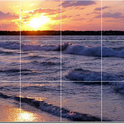 Picture-Tiles, LLC - Sunsets Photo Custom Tile Mural 12 - * MURAL SIZE: 24x32 inch tile mural using (12) 8x8 ceramic tiles-satin finish.