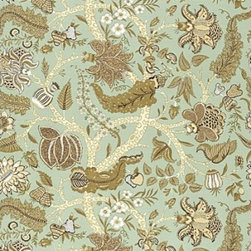 "F. Schumacher - Jaipur Tree Fabric, Robin's Egg - 2 Yard Minimum Order. Jaipur Tree is from F. Schumacher, comes in four color-ways and is 69% linen and 31% cotton. Repeats - H50"" & V38.5""."