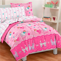 None - Magical Princess Twin-size Bed in a Bag with Sheet Set - Give your child's room a fun update in decor with this twin-size bed in a bag. The set includes everything from sheets to comforter, all printed with a magical princess and castle motif against a pink background that adds color to the room.