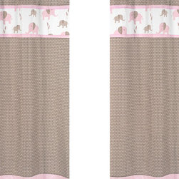 Sweet Jojo Designs - Pink Elephant Window Panel - Set of 2 by Sweet Jojo Designs - The Pink Elephant Window Panel - Set of 2 by Sweet Jojo Designs, along with the  bedding accessories.