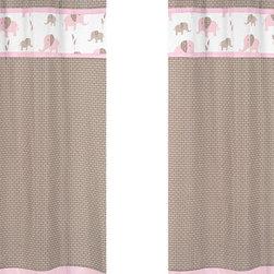 Sweet Jojo Designs - Pink Elephant Window Panel - Set of 2 by Sweet Jojo Designs - The Pink Elephant Window Panel - Set of 2 by Sweet Jojo Designs, along with the bedding accessories.
