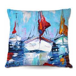 DiaNoche Designs - Pillow Woven Poplin - Three Sunbathing Sailboats - Toss this decorative pillow on any bed, sofa or chair, and add personality to your chic and stylish decor. Lay your head against your new art and relax! Made of woven Poly-Poplin.  Includes a cushy supportive pillow insert, zipped inside. Dye Sublimation printing adheres the ink to the material for long life and durability. Double Sided Print, Machine Washable, Product may vary slightly from image.