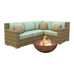 Forever Patio - Hampton 4 Piece Wicker Patio Sectional Sofa Set, Heather Wicker and Spa Cushions - The 4 Piece Hampton Modern Sectional Set by Forever Patio with Turquoise Sunbrella cushions (FP-HAM-4SEC-HT-SP) sports the latest modern wicker design while providing an incredibly luxurious outdoor seating experience. The set seats 4 adults comfortably, and includes a left arm, right arm, middle and corner section.This set features Heather wicker, which is made from High-Density Polyethylene (HDPE) for outdoor use. Every strand of this wicker is infused with its natural color and UV-inhibitors that prevent cracking, chipping and fading ordinarily caused by sunlight. Each piece features thick-gauged, powder-coated aluminum frames that make the set extremely durable and resistant to corrosion. Also included with the set are cushions covered in fade- and mildew-resistant Sunbrella fabric, available in a wide selection of colors. The seating is generously sized and the back cushions are overstuffed, providing unmatched outdoor comfort.