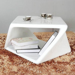 Flexion Coffee Table - If unusual angles excite you and modern design inspires you, you'll flip for this geometry-bending coffee table. Its gleaming white lacquer is just right for the sharp, bold angles it creates.