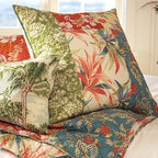 Palm Beach Patchwork Quilt, Full/Queen - Sun-washed prints inspired by vintage Hawaiian shirts capture the spirit of aloha. Our quilt is made of soft, light cotton voile, and filled with cotton, for breathable comfort year-round. Hand-stitched cotton. Pure cotton batting. Quilt and sham reverse to leaf pattern. Quilted sham has an envelope closure. Quilt, sham and insert sold separately. Machine wash. Imported.