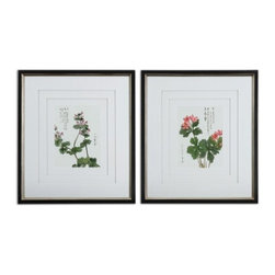 """Uttermost - Uttermost Asian Flowers Framed Art Set of 2 - Black satin outer frame and champagne silver leaf inner part of frame. Three, very light gray, v-grooved mats accent this set of prints. Each mat floats 1/4"""" above the other giving added depth and dimension. Frames are black satin with champagne silver leaf inner edges. Prints are under glass."""
