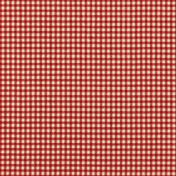 "Close to Custom Linens - 72"" Shower Curtain, Lined, Crimson Gingham - A small gingham check in crimson red on a beige background. Reinforced button holes for 12 curtain rings."
