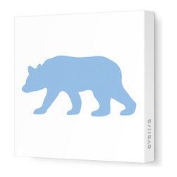 """Avalisa - Silhouette - Bear Stretched Wall Art, 12"""" x 12"""", Blue - """"Bear"""" walls? Start your own silhouette statement wall with this bear silhouette. Ready-to-hang stretched canvas wall art is a fun way to introduce animal shapes to future nature lovers."""
