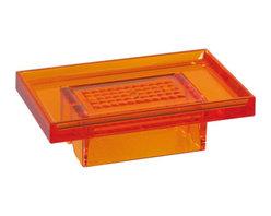 Modo Bath - Lem K830A Wall Soap Holder in Orange - Lem K830A, 5.7 x 3.5 x H 1.8, Wall Soap Holder, in Orange