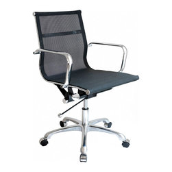 Laura Davidson - Laura Davidson SOHO Mesh Management Chair (Black) - Sleek and contemporary, the SOHO Mesh management chair from Laura Davidson adds style to just about any setting while providing the user with a functional and comfortable seating area. The chair's clean, contemporary lines enhance any décor and work well in your home, office, or living room. This timeless chair features a firm nylon mesh seating area. Removable arms enhance the chair's functionality, while its chrome steel tube frame soundly and comfortably provides support as you sit. To accommodate different body sizes and user preferences, the chair benefits from an adjustable height locking tilt mechanism with chrome accents, for a seat height range from 17 to 21 inches high. The chair also swivels 360 degrees for added convenience. For mobility, the chair's cast-aluminum base rests on five chrome-capped wheels. This chair requires minimal assembly (tools included). Covered by a limited one-year warranty, the chair measures 20 inches wide by 20 inches deep with a height of 34 to 37 inches. This item weighs 30 pounds.