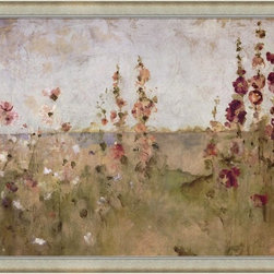 """Great Art Now - Hollyhocks by the Sea by Cheri Blum Framed Art , Size 39.25 X 27.25 - Hollyhocks by the Sea by Cheri Blum is a high quality piece of framed artwork. The finished size of this piece is 39.25"""" X 27.25"""". It has an Antique Silver Scoop Front frame and is finished with high quality Acrylic Plexiglass. Hand made in the USA. 100% Satisfaction Guaranteed."""