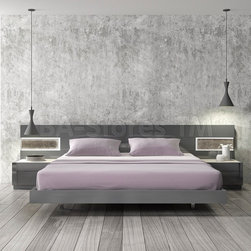 Braga Grey Lacquer/Natural Wood Bed with LED Lights -