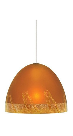 LBL Lighting - LBL Lighting Mojave Amber 35W Monopoint 1 Light Track Pendant - LBL Lighting Mojave Amber 35W Monopoint 1 Light Track PendantBeautify any space with this gorgeous pendant featuring organic dome-shaped hand-worked Amber glass with layered drizzle and decorative silver leaf accents. The provided 35 watt halogen lamp creates plenty of down light for any home or business.Each Monopoint lighting fixture includes a single-point canopy with built-in transformer right out of the box for a quick and easy installation.LBL Lighting Mojave Amber 35W Monopoint Features: