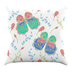 """Kess InHouse - Anneline Sophia """"Leafy Butterflies Pink"""" Teal Butterfly Throw Pillow (20"""" x 20"""") - Rest among the art you love. Transform your hang out room into a hip gallery, that's also comfortable. With this pillow you can create an environment that reflects your unique style. It's amazing what a throw pillow can do to complete a room. (Kess InHouse is not responsible for pillow fighting that may occur as the result of creative stimulation)."""